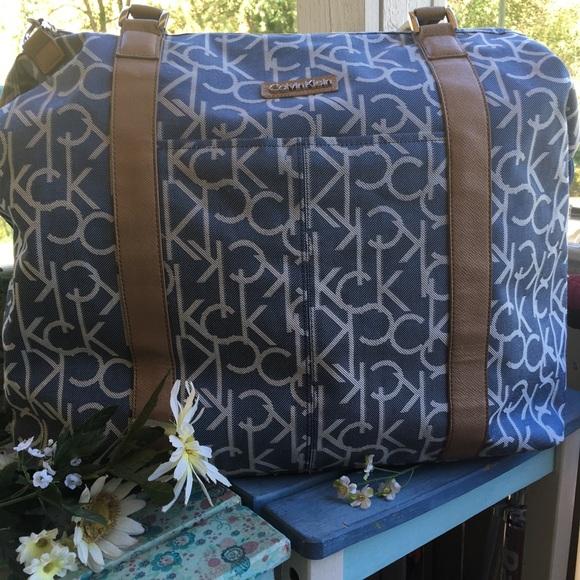 cfd594c840 Calvin Klein Bags | White And Blue Monogram Travel Bag | Poshmark